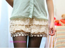 Japan Crochet Mesh Layer Mixed Lace Bloomer Slip Shorts! Almond