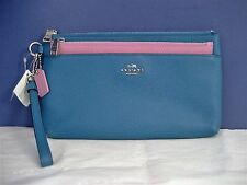 Coach Large Wristlet w/Pop-Up Pouch Colorblock Leather 64862 Peacock/Marshmallow