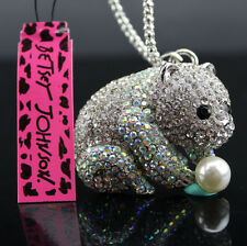 A508 Betsey Johnson Silver Crystal Small panda Pendant Sweater Chain Necklace