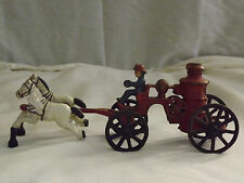 VINTAGE FIREMAN CAST IRON TOY HORSE DRAWN FIRE ENGINE TRUCK CARRIAGE WAGON
