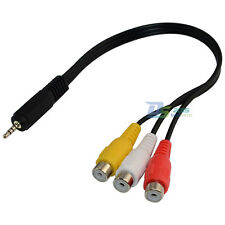 20cm DC 2.5mm Male Plug to 3RCA Phono Female Jack AV Adapter Audio Y Short Cable