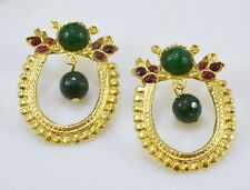 OttomanGems semi precious gem stone gold plated earrings  Jade handmade