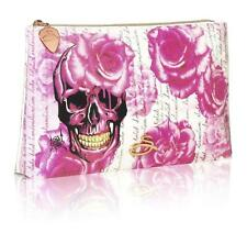 Sanctum Soho Womens Girls Rose Skull Cosmetic Make up Purse Biker Rock Chick