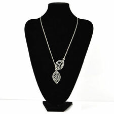 Double Gold Silver Leaves pendant Clavicle Necklace Wedding Romantic Jewelry