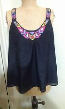 SEDUCE BLACK SILK BLEND  EMBROIDERIED  TOP BNWT SIZE 12