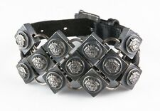 Gorgeous Gianni Versace Leather Bracelet Chain Mail Medusa Motif Made in Italy