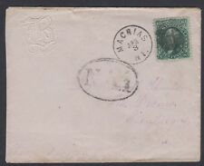 "1868 cover w/10c 1861 Issue stamp Machias, ME to Cuba ""NA1"" handstamp/backstamps"