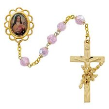 Rosary St. Therese Lisieux Deluxe Gold Rosary 7mm Pink Crystal Bead Catholic Box