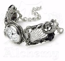 Rose Garden Skull & Web Bracelet Watch Women's AW10 by Alchemy Gothic Cobwebs