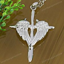 1pc Silver Plated Angel Wings Cross Beads Jewelry Pendant Fit Necklace Chain