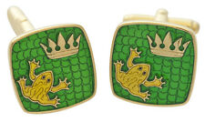 ENAMEL FROG CROWN GOLD PLATED STERLING SILVER CUFFLINKS 925 FROM ARI D NORMAN