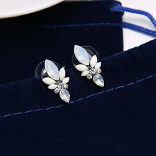 Silver Flower Crystal Earrings Ear Stud Cuff Jewelry New Charm Rhinestone Solid