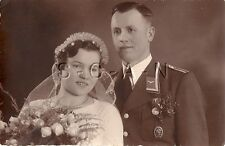 WWII German Luftwaffe RPPC- Sports Badge- Medal- Wedding Day- Frau- Bride- 1937