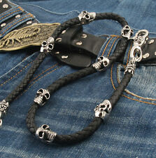 Skull Leather Gothic Punk Double Clasp Biker Trucker Wallet Key Chain CS83