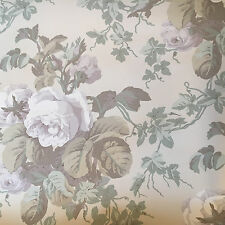 Vintage Wallpaper Nuetral Floral Grey Tan Green