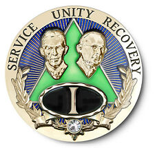 Bill & Bob Emerald AA Anniversary Recovery Coin/Medallion Years 1-15,20,25,30,35