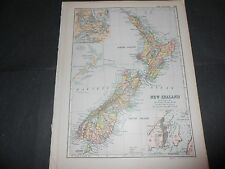 1895 ANTIQUE COLORED MAP NEW ZEALAND AUCKLAND WELLINGTON BACON'S GEOGRAPHICAL