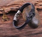 S510 Retro Classic Genuine Leather Braided Bracelet Wristband Men's Cuff Black A