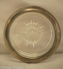 Old Vintage Leonard Silver Plate Crystal Glass Coasters ~ Made In Italy