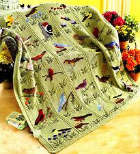 Magnifique oiseau couverture jeter à tricoter ~ 30 oiseaux en double stitch leaf design