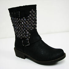 New Womens Studded Boots Jewel Biker Buckle Winter Zipper Ankle Warm Shoes Sizes