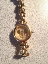 Vintage Mickey Mouse Gold Watch Disney LAND Women's SMALL MICKEY BAND HTF!