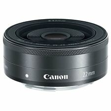 New Canon EOS M EF-M 22mm F2 STM Mirrorless Camera Lens Black White Box