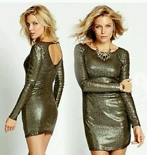 Holiday Guess Women's Gold Sequined Fitted Dress Sz S