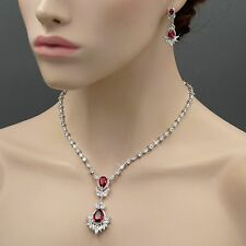 White Gold Plated Ruby Cubic Zirconia Necklace Earrings Wedding Jewelry Set 8467