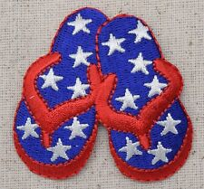 Iron On Embroidered Applique Patch Red White Blue Star Sandal Flip Flops