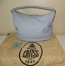 $1695.00 Authentic MARK CROSS Antibes Periwinkle Blue Leather Hobo Shoulder Bag