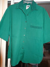 """TAPESTRY """"Hunter Green Short Sleeve Top"""" Button Front w/ Collar  Size L"""