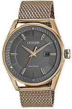 Citizen DRIVE BM6983-51H Men's CTO Rose Gold Tone Grey Dial Mesh Band Watch