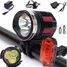 10000Lm 3x T6 LED Bicycle Bike Front Head Rear Light Headlight Headlamp Torch