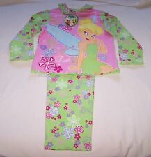Disney Tinkerbell Girls Green Pink Printed Flannel Pyjama Set Size 4 New