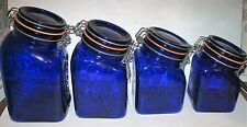 GRANNY'S PEACE & PLENTY COBALT BLUE GLASS CANISTER SET, CROWNFORD CHINA CO ITALY