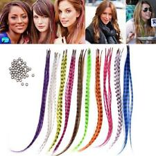 "New 50pcs Grizzly synthetic Feather hair Extensions 16"" with 50 beads for freeOL"