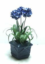 Handmade PLANT BLUE AGAPANTHUS flower blue pot dolls house miniature 12th scale