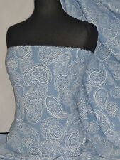 Chiffon Georgette Paisley Dress Fabric Soft Touch Sheer Blue/ Ivory PCH41 BLIV
