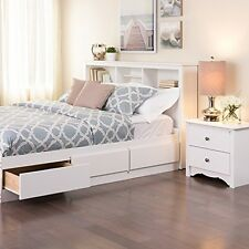 Queen Bookcase Headboard With Storage White Wood Bedroom Cubbie Cute Bed Frame