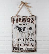 New Primitive FARMERS MARKET Cow Eggs Pie Cheese Plaque Shabby Chic Country Sign