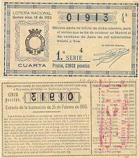 Lotería Nacional. Sorteo Número 18 de 1933. Número 01913.