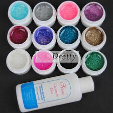 12 Color UV Glitter Gel Polish Cleaner Acrylic Tips for Nail Art Brush DIY Set