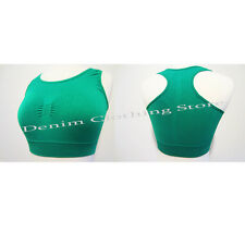 Basic Sports Bra Tank Top Elastic Seamless Racerback Yoga Fitness None-Padded