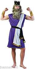 Greek Grecian Sea God King Neptune Purple Toga Fancy Dress Costume Wig and Beard