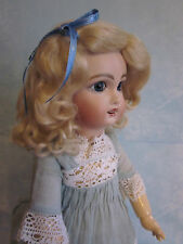 Lettie Light or Yellow Blonde mohair wig for antique French/ German doll size 14