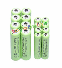 8x Batería recargable AA 3000mAh + 8x AAA 1800mAh 1.2V Ni-MH Verde