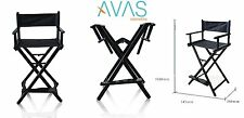 AVAS Professional Makeup Artist Directors Chair Black Frame W/Black Color Cover