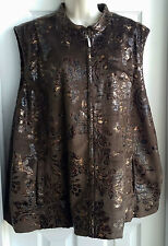 Erin London Womens Vest SIZE 3X Brown Tan & Gold Foil Lined Full Zip Pockets