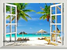 Palm Tree Beach 3D Window View Scene Removable Sticker Wall Decals Home decor